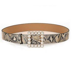 Pearl buckle snake print belt